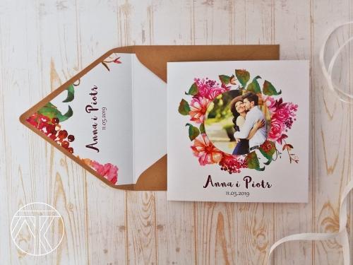 Kwiaty Boho Zaproszenie ślubne Ze Zdjęciem Zapomnienie W Miłości
