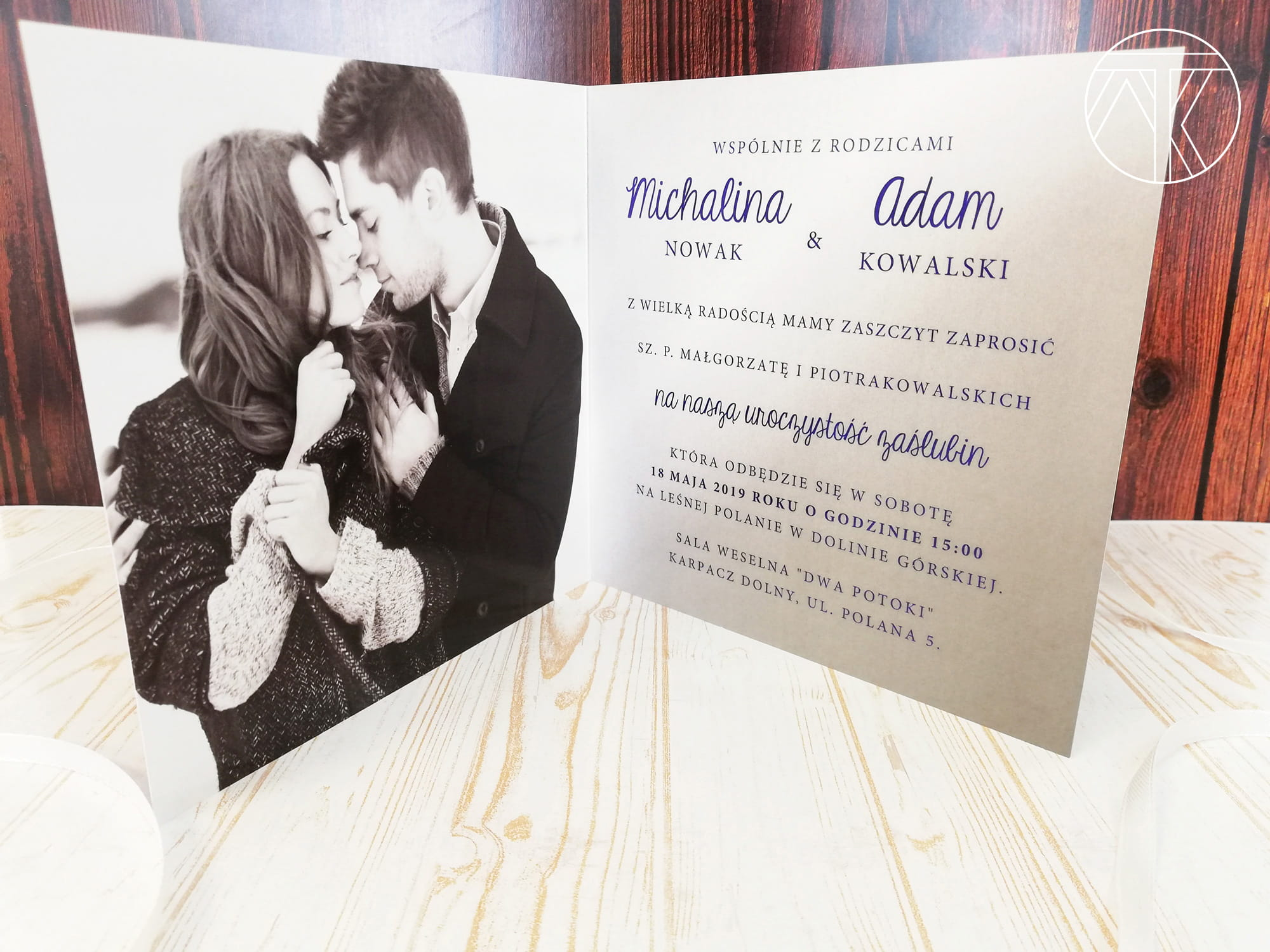 Zaproszenie ślubne Oryginalne Ze Zdjęciem Intensywny Granat Mówimy