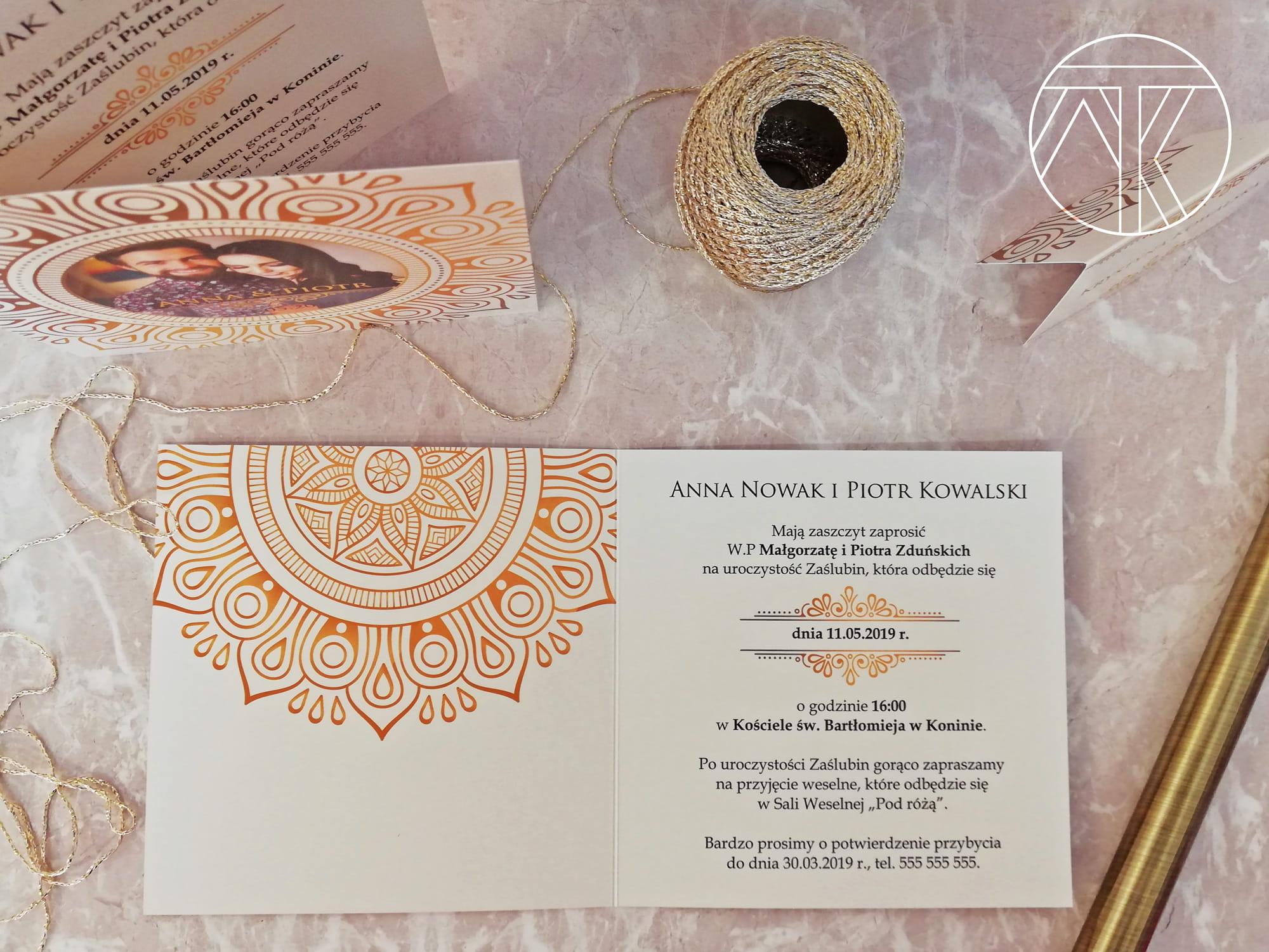 Bardzo dobra Eleganckie zaproszenie ślubne ze zdjęciem - Glamour złoto Mówimy RW38