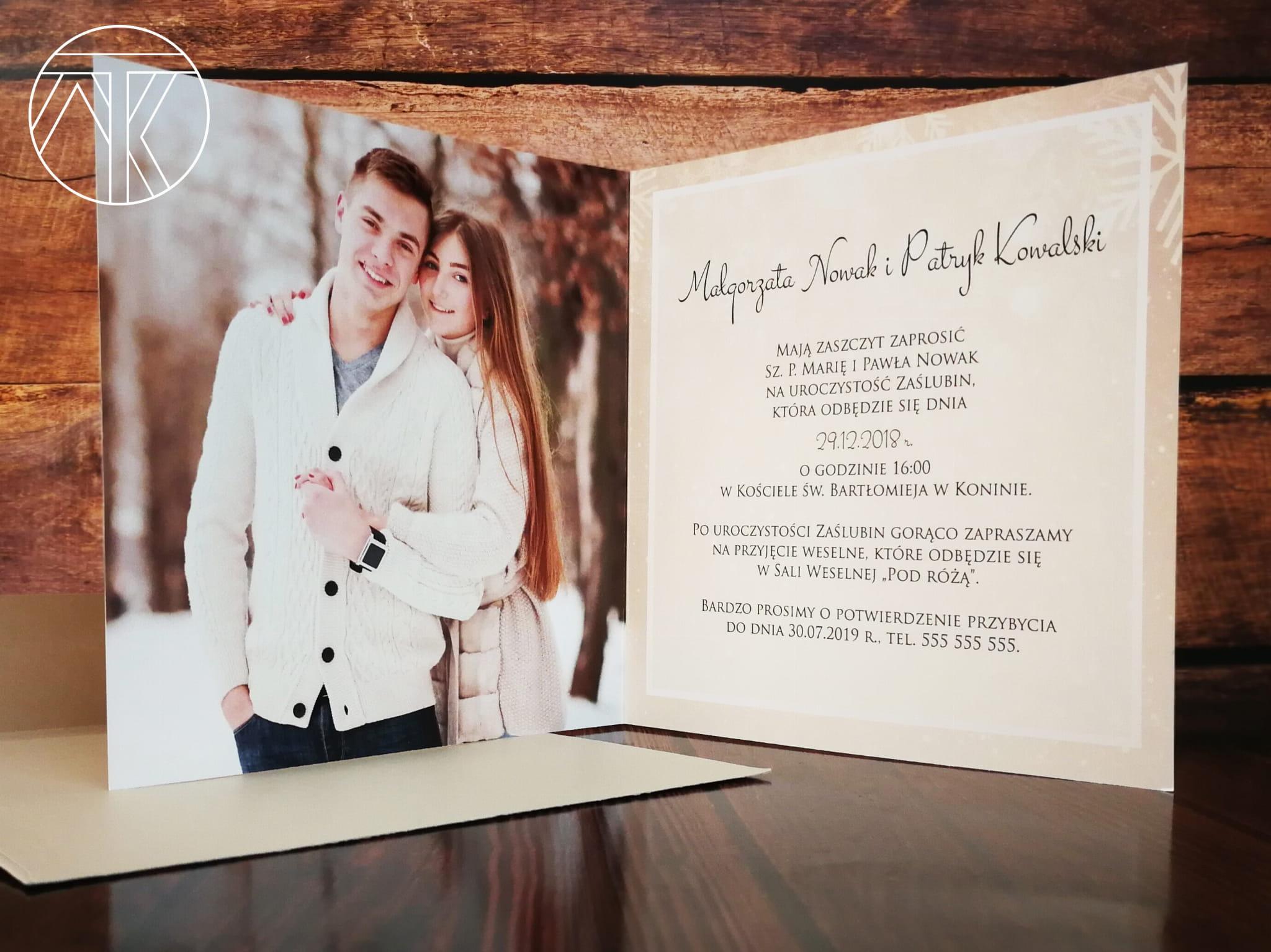 Próbka Zimowe Zaproszenie ślubne Ze Zdjęciem Beż Złote Płatki